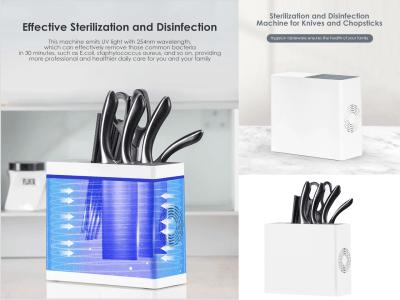 Máquina de esterilización y desinfección UV, Secado con aire caliente para cuchillos, Esterilizador multifuncional de cuchillos de cocina, Estante de almacenamiento de vajilla
