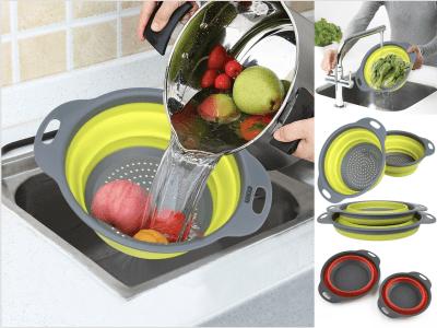 Set 2 Piezas Colador plegable de silicona para cocina, colador de frutas y verduras. Con silicona de calidad alimentaria, segura y saludable. Puede ser plegable. diseño que ahorra espacio. 4 colores