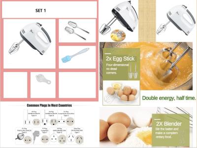 Pack 1. Mini batidora de cocina con potente batidor de huevos eléctrico de mano de 180 vatios. 2 brazos + Pincel + Separador Yema
