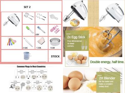Pack 2. Mini batidora de cocina eléctrica de mano de 180w. 4 brazos + Cepillo + Separador de yemas + Espatula + Inyección y Moldes + Juego Medidores + Espatula de Goma + Molde Redondo + Jarra Medidor