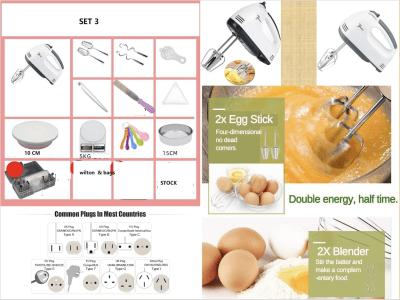 Pack 3. Mini batidora cocina eléctrica de mano, 180w. 4 brazos + Separador de yemas + Espatula + Pistola y Boquillas + Juego Medidores + Espatula de Goma + Molde Redondo + Pesa Electrica + Base Tartas