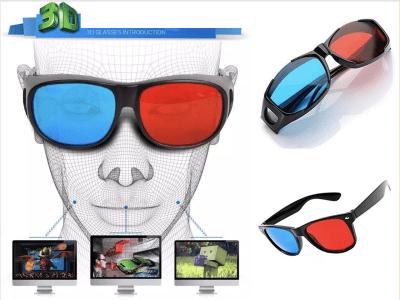 Set 2 Piezas Gafas 3D anáglifo azul (derecha) y rojo (izquierda) con marco negro. Ideal para TV en 3D, películas, juegos, dibujos animados o imágenes en 3D, revistas, cómics, etc.