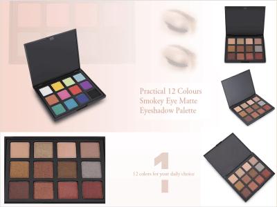Práctica Paleta Sombras Ojos Mate, Nacarada Ahumada, 12 Colores, Brillo Sedoso, Componentes Transpirables, Disponible en Diferentes Ocasiones, Fácil de Combinar con Diferentes Estilos de Maquillaje