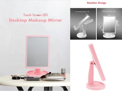 Espejo de Maquillaje de Escritorio LED con Pantalla Táctil, con Placa de Base Redonda, Diseño LED con Tres Luces Ajustables, mucho más Moderno y Atractivo, puede girar 360 grados