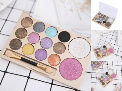 Set 3 Juegos de Sombra de Ojos Anti-Manchas de 26 Colores, Maquillaje, Paleta de Sombras de Ojos de Perlas, Juego de Maquillaje en Billetera Portátil, Sus Ojos Muestran el Efecto un Color Claro