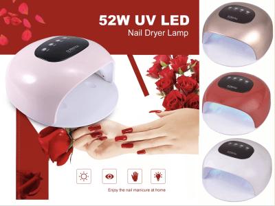 Lámpara Secadora Uñas LED UV 52W, Herramienta Manicura con Sensor Infrarrojo, Apto muchos tipos de Gel, 24 Lámpara LED UV, 4 Tipos Temporizador, Pantalla LED, Protección Ojos, 4 Colores Disponibles