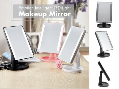 Espejo de maquillaje con luz LED inteligente de rotación, interruptor táctil, fácil de operar y conveniente de usar, diseño de rotación de 360 grados, moderno y conveniente para un uso diario
