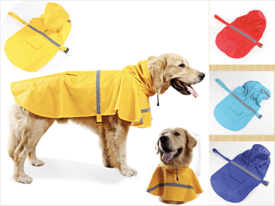 Chaqueta impermeable reflectante para perros. Ajustable, con gorro, Ideal para tu mascota. Traiga más comodidad y cuidado su mascota. Aumente visibilidad para mantener segura su mascota. Talla S