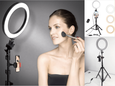 "Anillo Luz para Selfies de 8"", Trípode Ajustable y Soporte Teléfono para Transmisión en vivo / maquillaje, Mini Lámparas LED, YouTube, Tik-Tok, Control Remoto, 3800-6900K, Compatible con Android e IOS"