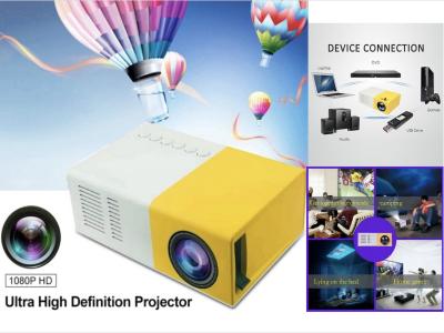 Mini proyector J9 LED portátil, Reproductor 1080P videos, TV, película, Juegos, Entretenimiento Aire Libre, HDMI, USB, AV, Control Remoto, 1200 Lumen, Distancia Ideal 1-2,8m