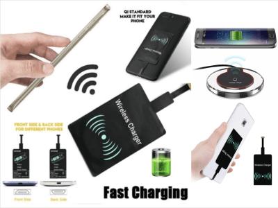 Adaptador Micro USB 8pin Universal para Carga Rápida Qi, Receptor de cargador inalámbrico para convertir tu dispositivo con la última tecnología de carga touch, Compatible Android y IOS