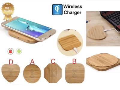 Cargador Inalámbrico Madera Bambú Qi 10w, Carga Rápida, Compatible Android y IOS, Luz LED indicador de Standby o Cargando, 4 Formas Diferentes (Corazón, Redondo, Hexágono y Cuadrado)