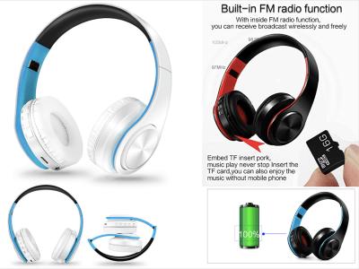 Auriculares Inalámbricos Bluetooth 4.0, Plegables, Música Estéreo con Micrófono, iPhone, Samsung, Huawei, Sony, PC Portátiles, Tablet, Cancelación de Ruido, Tarjeta de Memoria, Impermeable