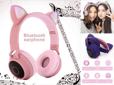 Auriculares Bluetooth 5.0 Orejas Gato, Micrófono, Auriculares Inalámbricos, con Luz LED Brillante, IPX6 Impermeable, Plegable, Tiempo Reproducción 8 Horas, Cancelación de ruido, 4 Colores Disponibles
