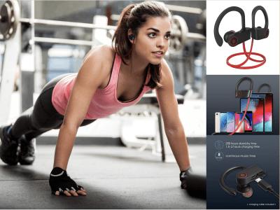 Auriculares Inalámbricos Bluetooth 5.0 Micrófono, Volumen y Control Remoto, Impermeable IPX7, Ideal para deportes, Correr, Gimnasio, Tiempo Uso 5-6 horas, Diseño Ergonómico, Compatible Android e IOS