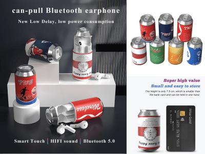 Auriculares Inalámbricos Diseño Lata, Bluetooth 5.0, Estéreo 3D HIFI, Pequeño, Fácil Almacenar, Llamadas HD, Cancelación Ruido, Tiempo Reproducción 2-3 horas, Resistente Agua, 7 Colores Disponibles