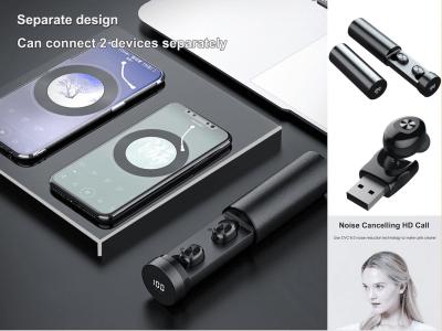 Auriculares Inalámbricos Bluetooth 5.0 B9 TWS con Estuche Carga de 300mAh, Pantalla Digital, Control Táctil, Volumen Ajustable, Impermeable, Cancelación Ruido, Llamada HD, Compatible Android e IOS