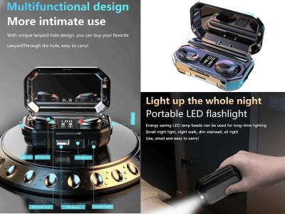 Auriculares Inalámbricos Bluetooth 5.0, Internos, Inteligentes, Micrófono, Iluminación Emergencia Pantalla Digital, Emparejamiento Automático, Banco Energía 2000mAh, Tiempo Uso 4-6 horas, Android, IOS