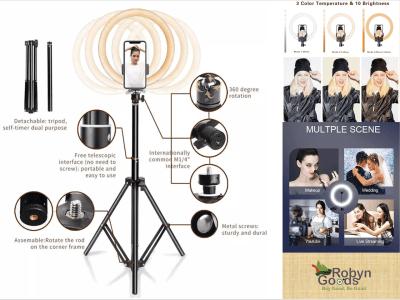 """Anillo Luz LED de 18"""" con Soporte Trípode y Teléfono, para video de YouTube, Cámara de Escritorio, para Transmisión, Maquillaje, Fotografía de Selfies, 3200-6500K, Compatible con iPhone, Android"""