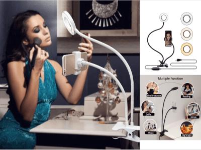 Estudio fotográfico Selfie. Anillo de luz LED con soporte para teléfono móvil. Soporte de trípode para YouTube Live Stream. Diferentes luces en la lámpara para la cámara