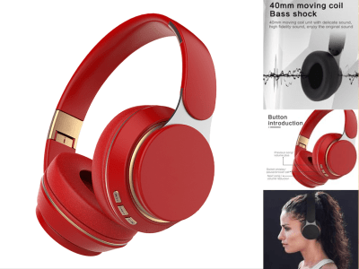 Foldable Wireless Headphones, Bluetooth 5.0, Headset with Mic, Play Time 15-18 hours, Noise Cancelling, Waterproof IPX4, Folding, Telescopic, 5 Colors Available