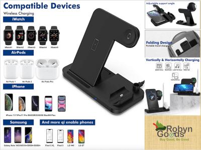 Cargador inalámbrico (4 en 1), Soporte de carga inalámbrico para iPhone/iWatch/Airpods/iPad