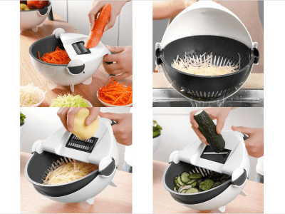 New 11 in 1 Multifunction Magic Rotate Vegetable Cutter with Drain Basket and 8 Dicing Blades