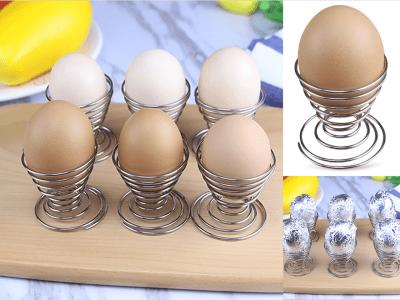 Huevera de alambre de resorte de acero inoxidable, soporte de huevos para servicio