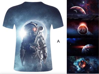 Camiseta de manga corta unisex con diseño NASA, astronauta, espacio 3D, gráfico colorido, cuello redondo, impresión, camiseta para hombres y mujeres jóvenes