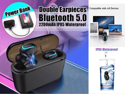 Auriculares Inalámbricos HBQ-Q32 TWS Bluetooth 5.0 + EDR, Batería 2600mAh, Carga tu Móvil, Impermeable IPX4, Cancelación Ruido, Tiempo Uso 4-8 horas, HIFI, Gaming, Compatible Android y IOS