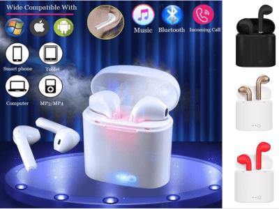 Auriculares Inalámbricos I7S TWS, Bluetooth 5.0, Impermeable IPX5, Cancelación Ruido, Tiempo Uso 2,5-3 horas, Estéreo, Deporte, Gaming, Compatible Android y IOS