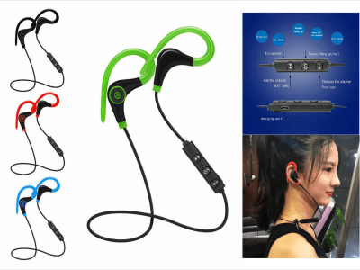 Auriculares Inalámbricos TWS, Bluetooth 4.2, Gancho para Oreja, Bando Cuello, Impermeable IPX5, Cancelación Ruido, Tiempo Uso 4-8 horas, Estéreo, Ideal para Deporte, Compatible Android y IOS