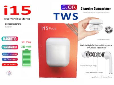Auriculares Inalámbricos I15 TWS, Bluetooth 5.0, Impermeable IPX5, Cancelación Ruido, Tiempo Uso 3-5 horas, Deporte, Viajes, Gaming, Carga Inalámbrica Qi, Compatible Android y IOS