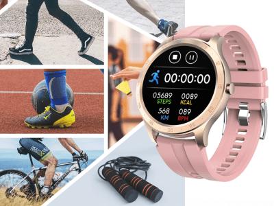 Reloj Inteligente Rastreador de Ejercicios, Compatible IOS y Android, Smartwatch con Monitor de Frecuencia Cardíaca, Pantalla Táctil Completa, Podómetro, Pulsera Deportiva