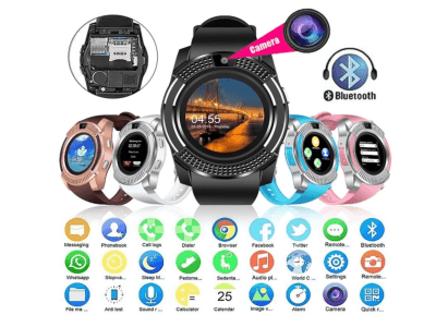 Reloj Inteligente Elegante, Controla el Ejercicio, Bluetooth, Pantalla Táctil, Cámara, Teléfono, Sistema Anti-Pérdida, Compatible IOS y Android