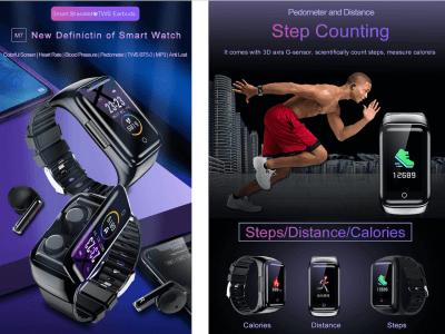 Reloj Inteligente M7 con Auriculares BT5.0 incluidos, Llamadas Bluetooth, Monitor de Frecuencia Cardíaca, Compatible Android y IOS, Presión Sanguínea, Resistente al Agua IP67, y mucho más