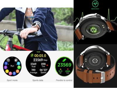 Reloj Inteligente, Ideal para Hombres y Mujeres, ECG PPG Frecuencia Cardíaca, Pantalla Redonda Táctil, Impermeable IP68, Bluetooth, Email, FM Radio, Compatible Android y IOS