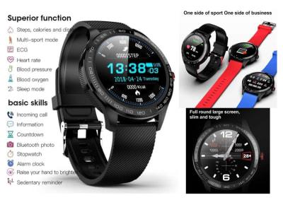 Reloj Inteligente Pantalla Táctil Redonda Deportiva, Comptaible IOS y Android, Reloj Inteligente a Prueba de Agua, L9 Reloj Inteligente con Podómetro, Monitor de Frecuencia Cardíaca