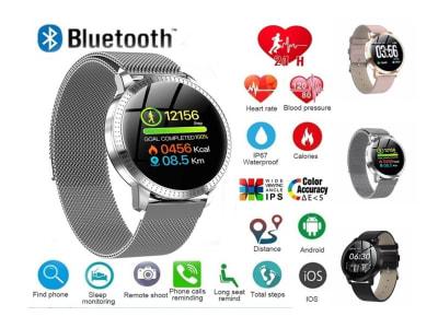 Reloj Inteligente con Pantalla Táctil Redonda, Compatible IOS y Android, Reloj Inteligente CF18 a Prueba de Agua con Monitor de Presión Arterial, Frecuencia Cardíaca, Podómetro y mucho más