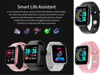 Reloj inteligente D20 perfecto parea Hombres y Mujeres, Compatible IOS y Android, Ideal para Deportes, Pulsera Inteligente Bluetooth, Presión Arterial, Frecuencia Cardíaca, Pulsera de Fitness