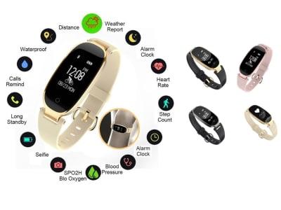 Pulsera Deportiva con Bluetooth para Mujer, Compatible IOS y Android, Reloj de Pulsera Inteligente Resistente al Agua, Monitor de Frecuencia Cardíaca y Podómetro