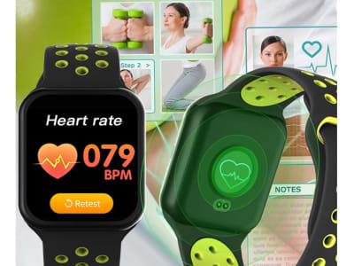 Reloj Inteligente F8, Compatible IOS y Android, Pronóstico del Tiempo, Reloj Rastreador de Ejercicios, Impermeable IP67, Monitor de Frecuencia Cardíaca