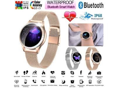 Reloj Inteligente, Pieza Moda Mujer, Impermeable IP68, WhatsApp, Fitness, Compatible Android y IOS, Monitor Sueño, Presión Arterial, Frecuencia Cardíaca, Cuerpo Acero Inoxidable y Pulsera 100% Piel