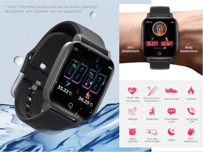 Reloj inteligente con Medición de Temperatura Corporal para Hombres y Mujeres, Monitor de Frecuencia Cardíaca, Resistente al Agua IP67, Compatible Android y IOS, MP3, FM Radio, Fitness, Ritmo Cardiaco