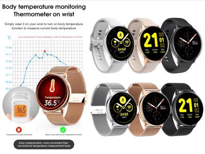 Reloj Inteligente, Pantalla Táctil Circular, ECG Monitorización Temperatura Corporal, Presión Arterial, Resistente al Agua IP68, WhatsApp, Bluetooth, Ritmo Cardiaco, Compatible Android y IOS