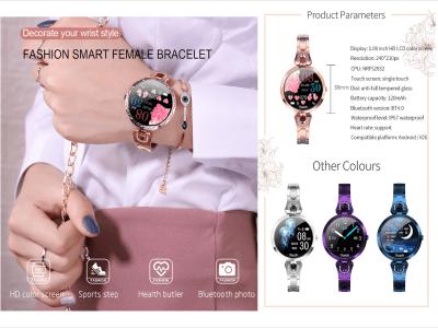 Reloj Elegante Inteligente para Mujer, Monitor Presión Arterial, Frecuencia Cardíaca, Resistente Agua IP67, Bluetooth, Control Sueño, Redes Sociales, Compatible Android y IOS, FM Radio, Email, Fitness