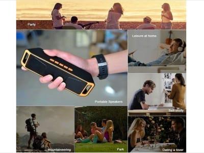 Altavoz Inalámbrico Bluetooth para Teléfonos, Exteriores. Soporte de Micrófono USB Incorporado, Bajos Calidad, Música 10 horas, Tarjeta Memoria, FM Radio, iPhone, iPad, Android, PC, etc.