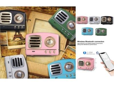 Altavoz Retro Inalámbrico Bluetooth con Radio FM y Micrófono Integrado, USB. Altavoz portátil de estilo Vintage, Compatible Teléfonos, Tablet, Ordenadores, Televisores y Portátiles, Tarjeta Memoria