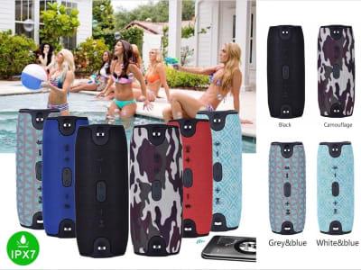 Altavoz Bluetooth Inalámbrico Portátil, Resistente al Agua, FM Radio, USB, Tarjeta Memoria, Micrófono, Estéreo, Compatible Android y IOS, wifi, Karaoke, ideal para PC, Aire libre