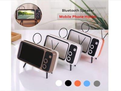 Diseño de TV Retro Altavoz Inalámbrico Portátil Bluetooth, Compatible Android y IOS, USB, AUX, FM Radio Vintage, Decorativo, Micrófono, Tarjeta Memoria, Tiempo Disfrute 15 horas